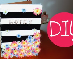 DIY back to school notebook! Striped floral | DIY supplies