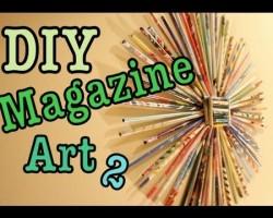 """DIY: Magazine Art #2! """"Sunburst"""" (Recycle Magazines)"""