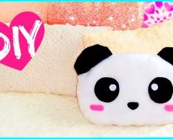 DIY ROOM DECOR! Cute panda pillow (Sew/no sew)   Lovely gift idea!