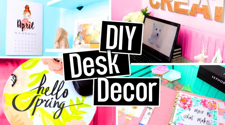 DIY DESK DECORATIONS for spring/summer! DIY ROOM DECOR! Cheap & cute projects!